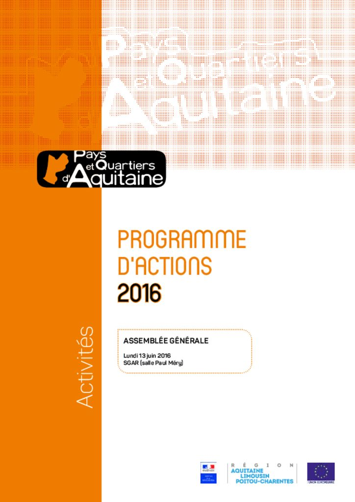 thumbnail of PQA – Programme d'actions 2016